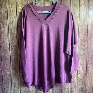 Soft Surroundings Purple Madeline Draped Tunic Top